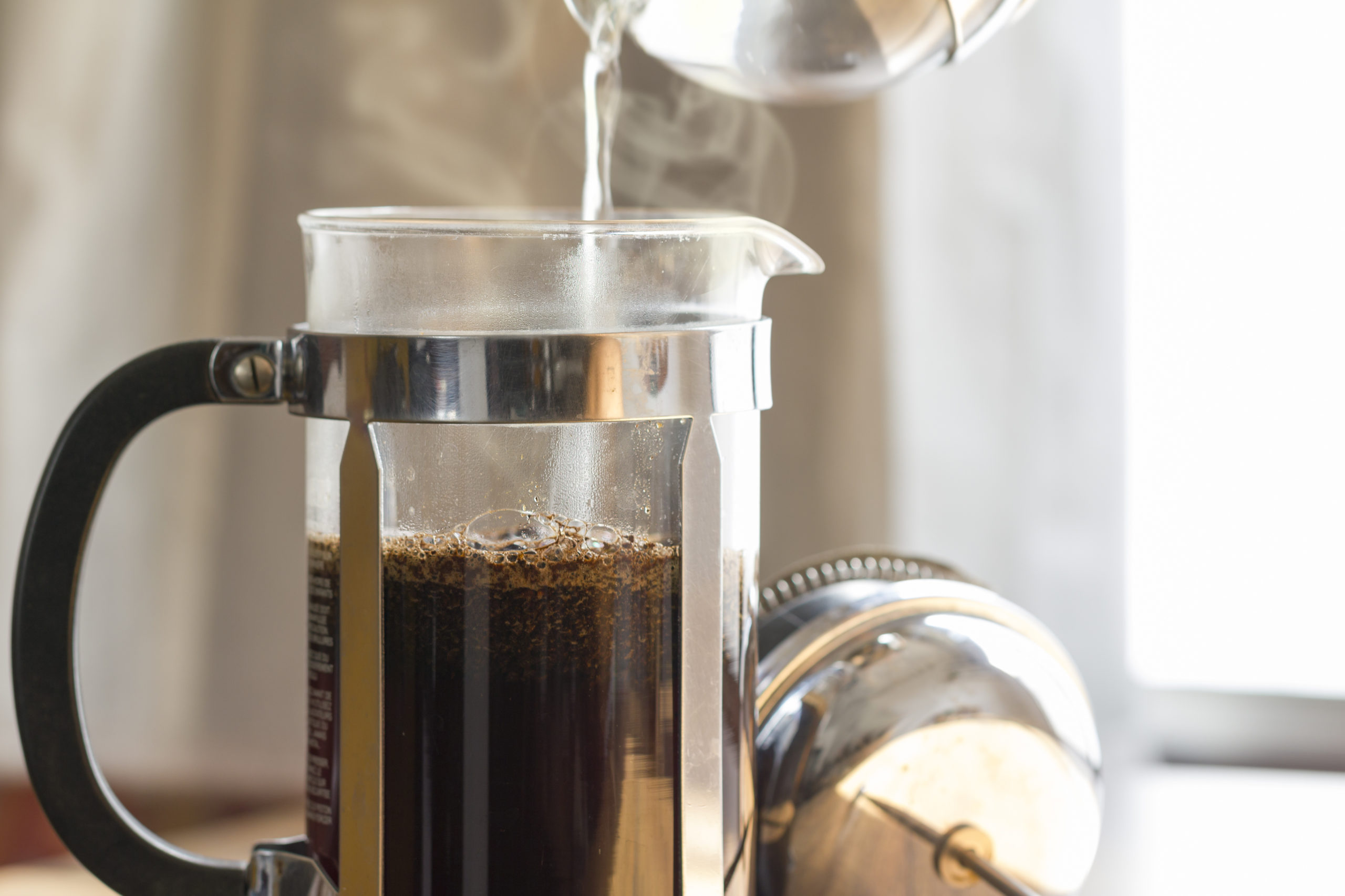 brewing coffee with a french press